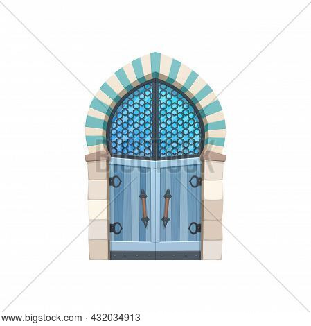 Fairytale Door To Dungeon With Glass Window Isolated Flat Cartoon Icon. Vector Wooden Gate To Fairyt