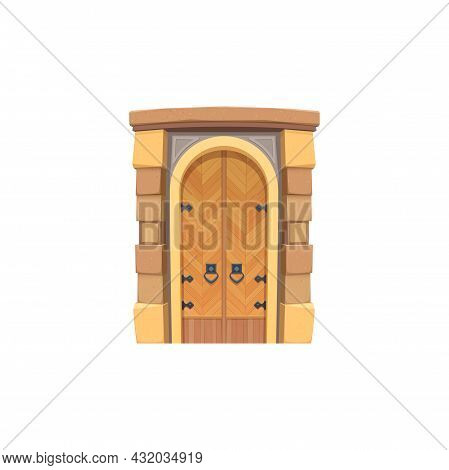 Doorway With Forged Elements, Aged Door With Pair Of Metal Handles, Cartoon Design. Vector Retro Gat