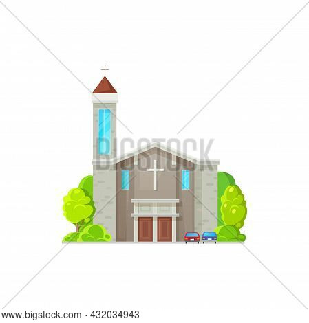 Baptist Or Evangelical Tower, Christian Church Isolated Catholic Chapel With Cross On Top. Vector Ho