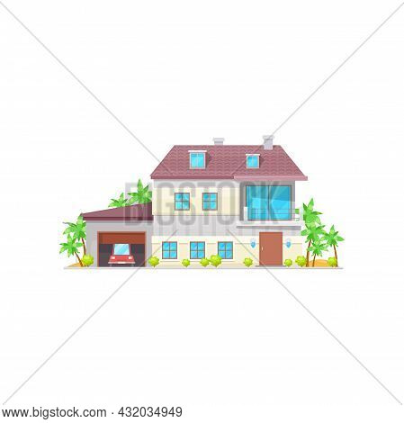 Modern House, Contemporary Building Country Style Street Architecture Isolated Flat Cartoon Icon. Ve