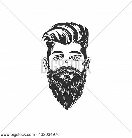 Retro Hipster Man With Beard And Moustaches Isolated Bearded Gentleman Portrait Monochrome Icon. Vec