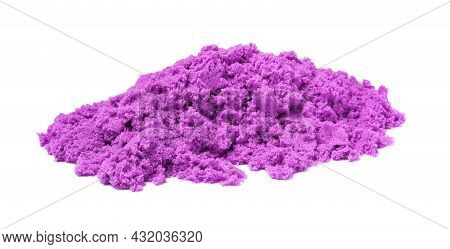 Pile Of Violet Kinetic Sand On White Background