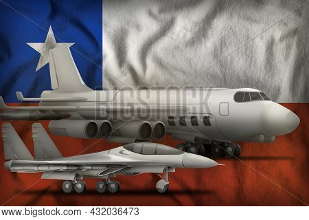 Air Forces On The Chile Flag Background. Chile Air Forces Concept. 3d Illustration