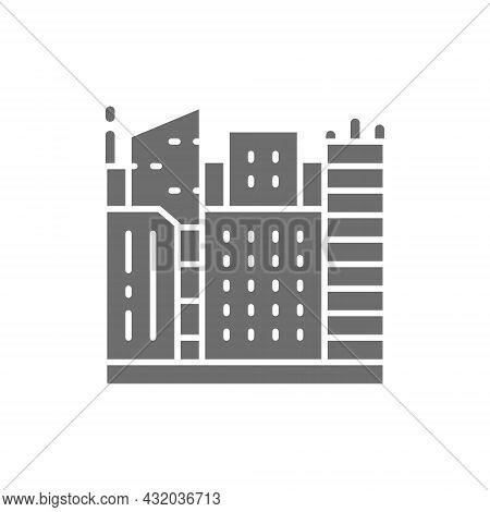 Vector Big City, Megapolis Landscape Grey Icon.