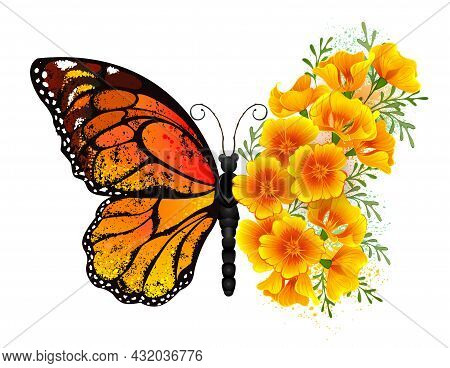 Orange, Detailed Monarch Butterfly With Wing Decorated With Yellow, Vibrant California Poppy On Whit
