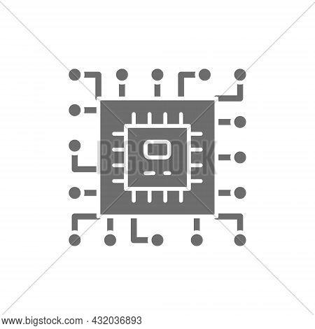 Vector Cpu Microprocessor, Computer Chip Grey Icon.