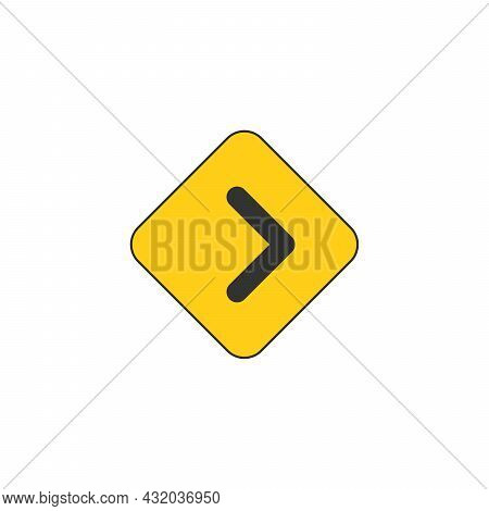 Black On Yellow Vector Chevron Arrows Pointing Right. Road Sign For Turn. Stock Vector Illustration