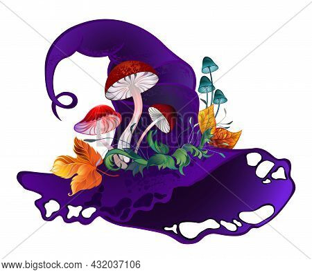 Artistically Drawn, Purple, Velvet Witch Hat Decorated With Red Mushrooms And Yellow Autumn Leaves O