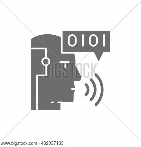 Artificial Intelligence, Robot With Sound Waves, Chatbot Grey Icon.