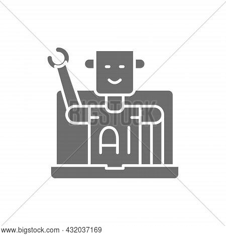 Chatbot, Customer Service Robot, Artificial Intelligence Grey Icon.
