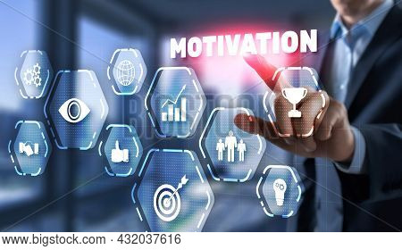 Motivation Concept. Man In A Jacket Clicks On A Virtual Screen Inscription Motivation