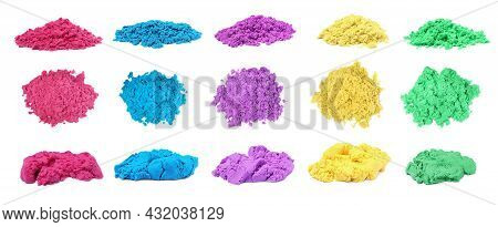 Set With Piles Of Colorful Kinetic Sand On White Background. Banner Design