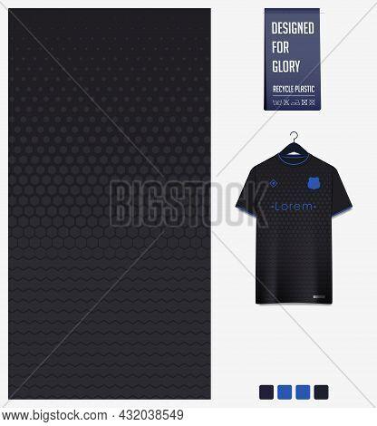 Soccer Jersey Pattern Design. Geometric Pattern On Black Background For Soccer Kit, Football Kit, Bi