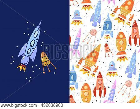 Set Of Card And Pattern With Cartoon Contour Space Ships And Ufo. Outline Technological Ships. Vecto