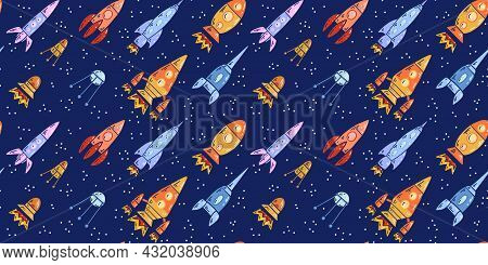 Seamless Space Texture With Spaceships And Stars On A Dark Background. Vector Pattern With Cartoon C