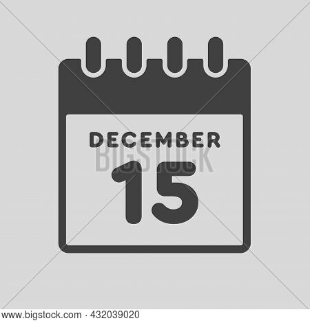 Icon Day Date 15 December, Template Calendar Page