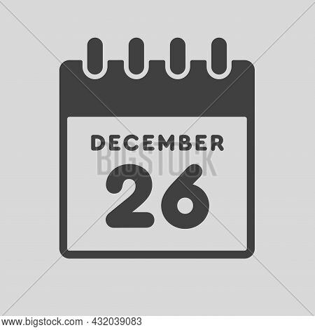 Icon Day Date 26 December, Template Calendar Page
