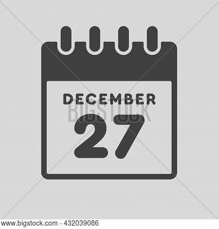 Icon Day Date 27 December, Template Calendar Page