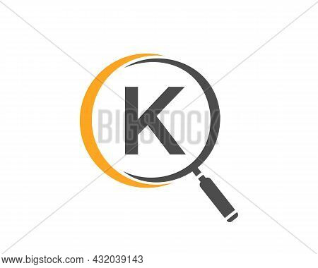 Magnifying Glass On Letter K Concept. Search Logo. Initial K Letter Magnifying Glass Logo Design
