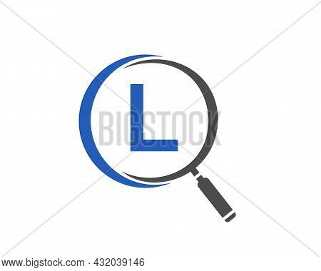 Magnifying Glass On Letter L Concept. Search Logo. Initial L Letter Magnifying Glass Logo Design
