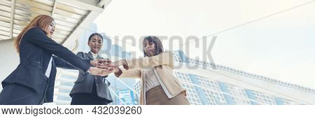 Banner Partners Hands Together Teamwork Group Of Business People Meeting In Firm Company Office. Pan