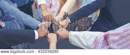 Banner Diverse Multiethnic Partners Hands Together Teamwork Group Of Multi Racial People Meeting Joi