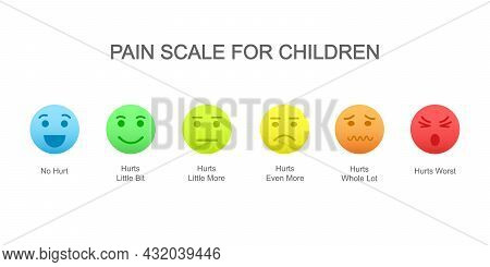 Vertical Pain Measurement Scale For Children With Emotional Faces Icons And Colorful Assessment Char