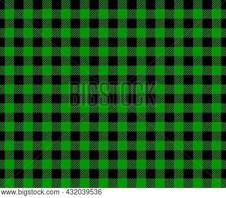 Horizontal Green And Black Buffalo Plaid Texture. Checkered Seamless Pattern. Geometric Fabric Backg