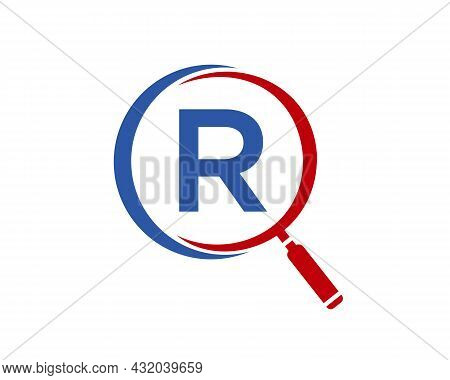 Magnifying Glass On Letter R Concept. Search Logo. Initial R Letter Magnifying Glass Logo Design