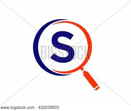 Magnifying Glass On Letter S Concept. Search Logo. Initial S Letter Magnifying Glass Logo Design