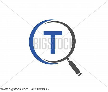 Magnifying Glass On Letter T Concept. Search Logo. Initial T Letter Magnifying Glass Logo Design