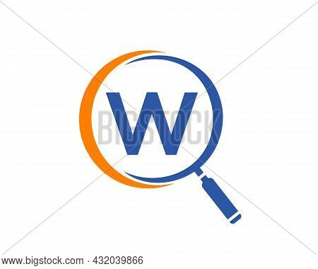 Magnifying Glass On Letter W Concept. Search Logo. Initial W Letter Magnifying Glass Logo Design