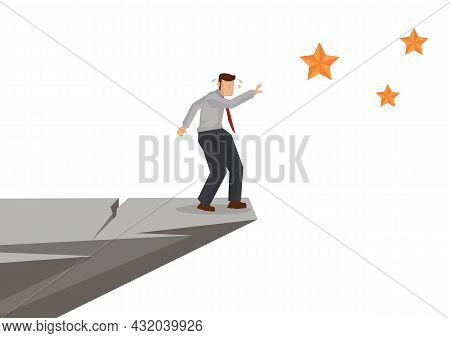 Businessman Reach Out For The Stars On The Cliff. Business Concept Vector Illustration.