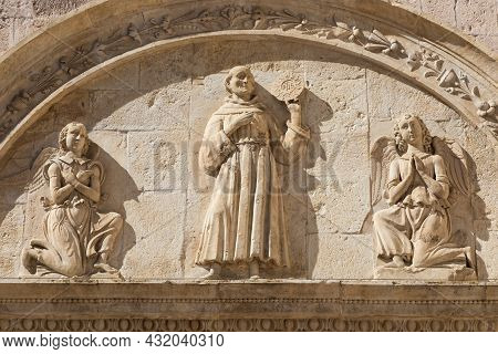 Assisi Village In Umbria Region, Italy. Detail Of The Most Important Italian St. Francis Basilica (b