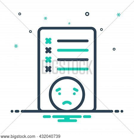 Mix Icon For Mistake Failure Message Error Fault Inaccuracy Wrong Text Exam Paper Checklist
