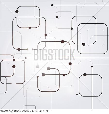 Geometric Lines And Dots. Lines Square Pattern. Modern Abstract Background. Connection Vector Illust