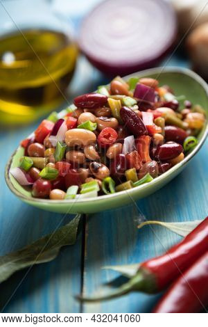 Mixed beans salad, healthy and nutritive vegetarian meal