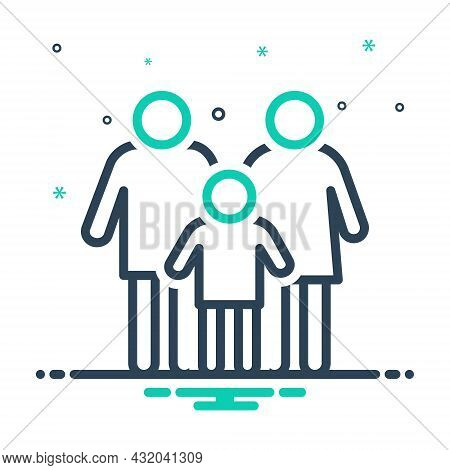 Mix Icon For Conventional Traditional Typical Ordinary Family Person Member