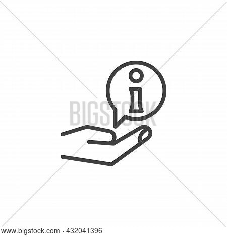 Info, Help Service Line Icon. Linear Style Sign For Mobile Concept And Web Design. Hand And Informat