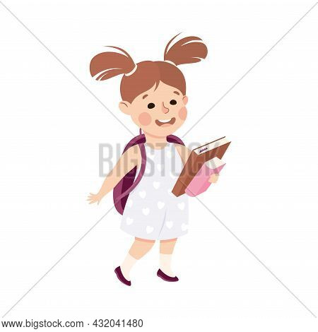 Little Girl With School Bag Walking And Carrying Books Engaged In Daily Activity And Everyday Routin