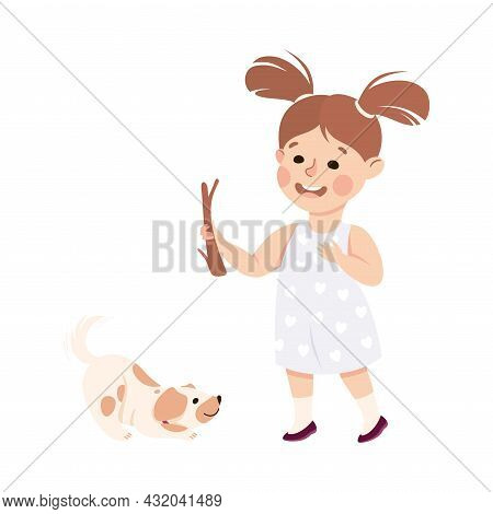 Little Girl Walking The Dog Playing With Stick Engaged In Daily Activity And Everyday Routine Vector