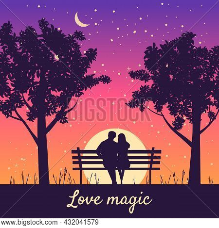 Romantic Couple Lovers On Bench In Park, Under Trees. Sunset, Night, Stars. Vector Happy Valentines