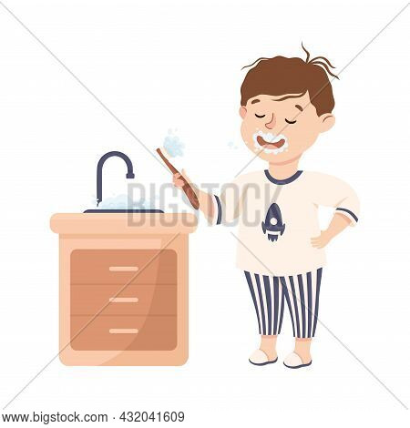 Little Boy Brushing Teeth In Bathroom Engaged In Daily Activity And Everyday Routine Vector Illustra