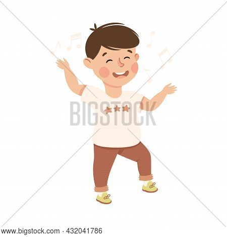 Energetic Boy Dancing Moving To Music Rythm Vector Illustration