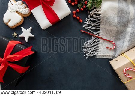 Cozy Christmas. Festive Celebration. New Year 2022. White Black Gift Boxes With Red Ribbon Bow Ginge