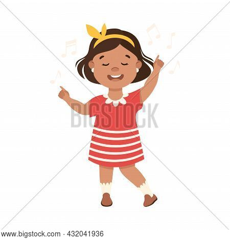Energetic Girl With Hairband Dancing Moving To Music Rythm Vector Illustration