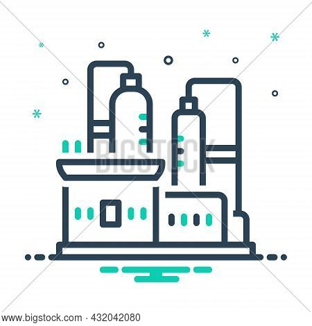 Mix Icon For Production Factory Refinery Manufacturing Pollution Smoke Recycle Manufacture