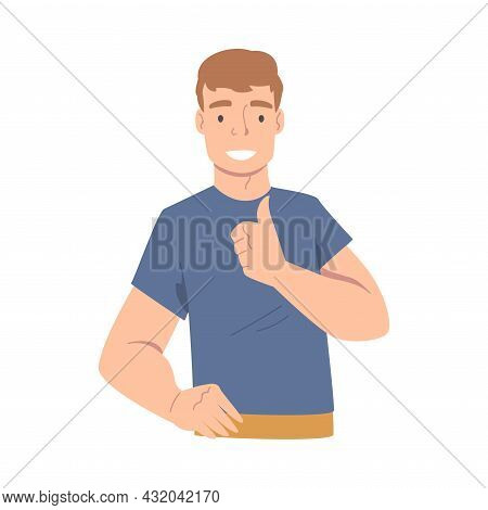 Smiling Man Character Showing Thumb Up As Approval Hand Gesture Vector Illustration