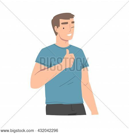 Smiling Man Character Showing Thumb Up As Approval Hand Gesture And Winking Vector Illustration
