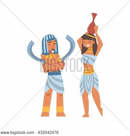 Egyptian Man And Woman Character Wearing Authentic Garment And Necklace Vector Illustration